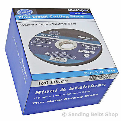 """100 X BLUE SPOT 115mm STAINLESS STEEL METAL CUTTING DISCS 4.5"""" only 1mm"""