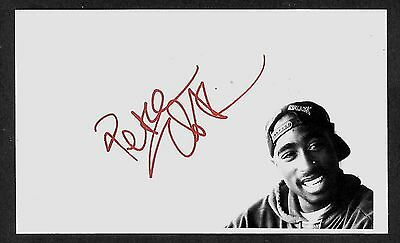 Tupac Shakur Autograph Reprint Appears Authentic On 3x5 Card