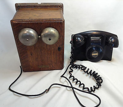 Antique Northern Electric F1 Bakelite Phone With Converted Ringer Box