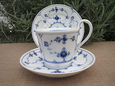 High Handle Royal Copenhagen Tea Cup Saucer Plate Trio Fluted Blue Lace 1920's A