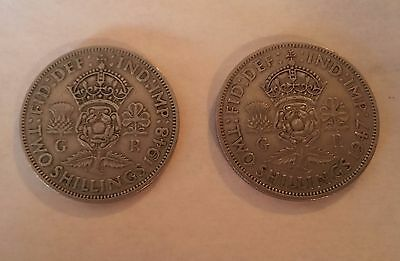 1947 and 1948 GEORGIVS VI D:G:BR:OMN:REX,  = TWO SHILLING, IN GREAT CONDITION