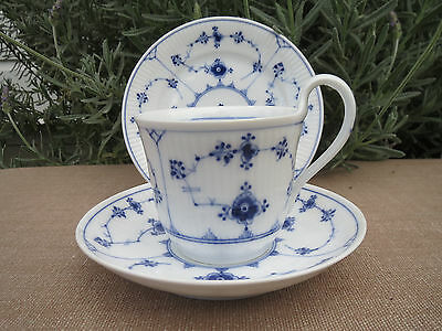 High Handle Royal Copenhagen Tea Cup Saucer Plate Trio Fluted Blue Lace 1920's B