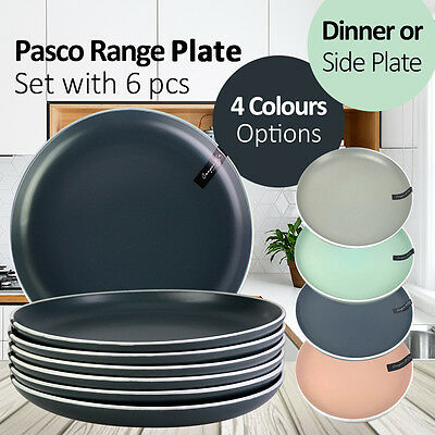 20/27CM Pasco Range Side/Dinner Plate Set with 6pcs Grey/Mint/Peach/Black