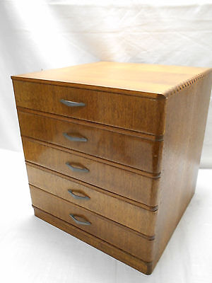 Antique Oak Wooden Office Box Japanese Drawers Circa 1930s #538