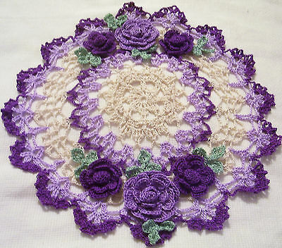 purple roses crocheted doily by Aeshagirl