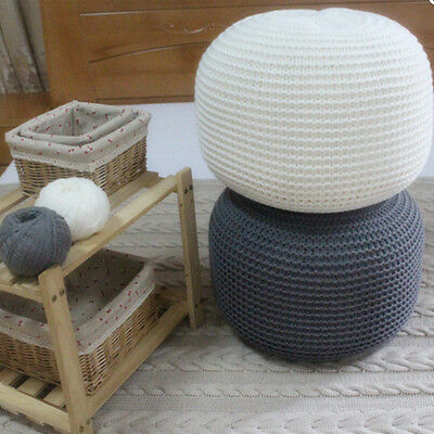 40CM CHUNKY KNIT KNITTED POUFFE FOOT STOOL CUSHION MOROCCAN POUF 5 colors AG