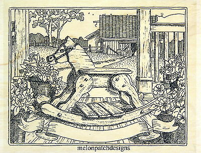 New H1883 WOODEN ROCKING HORSE Children Toy Rubber Stamp IMPRESSION OBSESSION