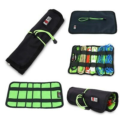 Portable Travel USB Earphone Cable Organizer Roll Up Bag Storage Travel Pouch