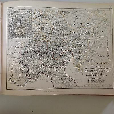 Antique Campaign Map Italy Switzerland Germany French RevolutIon 1796 Pub1848 M2