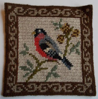 Swedish hand-embroidered twist-stitch small sampler with bullfinch, brown border