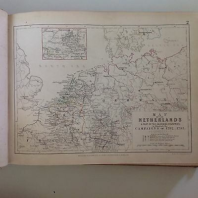 Netherlands Military Campaigns 1792-95 Antique Map Pub1848 A K Johnston Rare M2