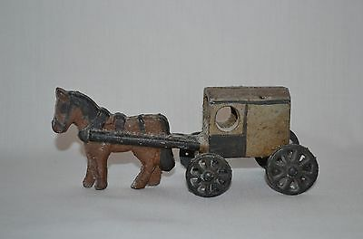 Vintage CAST IRON HORSE & BUGGY Toy with Movable Wheels
