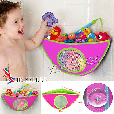 Kids Baby Bath Time Toy Tidy Storage Tile Suckers Triangle Bag Organizer Holder