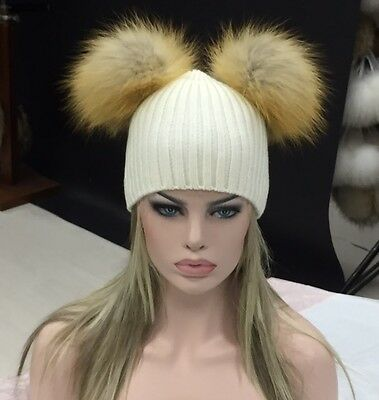 Kylie Jenner Beanie hat with 2 natural Gold fox fur bobbles/pompoms