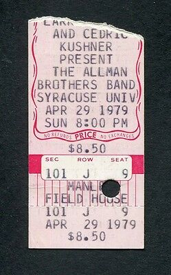 Original 1979 Allman Brothers concert ticket stub Syracuse Enlightened Rogues
