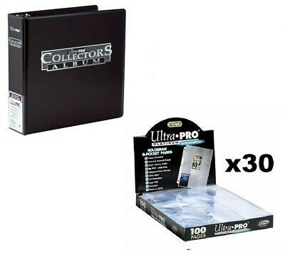 Ultra Pro 3 Ring Black Binder Album + 30 Platinum 9 Pocket Sleeve Pages Pokemon