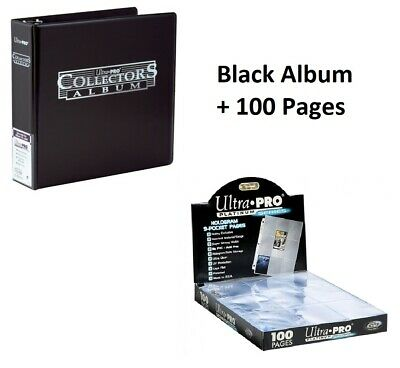 Ultra Pro Ring Black Binder Album + 100 Platinum 9 Pocket Pages Sleeves Pokemon