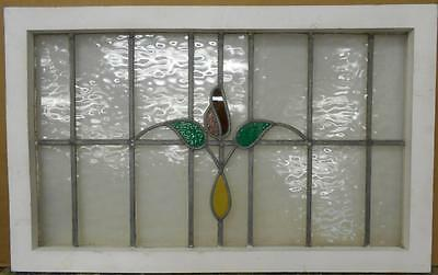 "LARGE OLD ENGLISH LEADED STAINED GLASS WINDOW Pretty Floral 34.5"" x 21.5"""