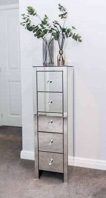 Tall Mirrored Bedside Cabinet Chest Unit of 5 Drawer Nightstand Bedroom Glass Si