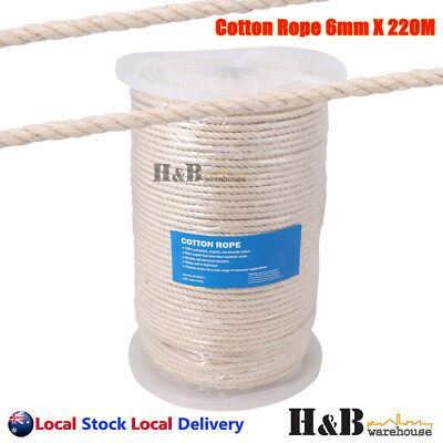 6mm x 220M Macrame Rope 100% Natural Cotton Cord 3 Strand Twisted Hand Craft