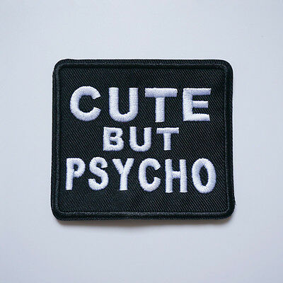 Embroidery Cute But Psycho Sew Iron on Patch Badge Biker Bag Fabric Applique DIY