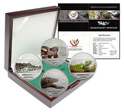 Congo 30 Francs 20g Silver Proof 4 Pieces PCS Coin Set,2013,Magnificent Reptiles