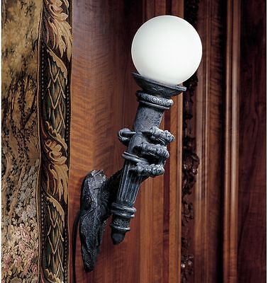 Sculpted Dragon Talon Holding Glass Globe Topped Torch Wall Lamp Sconce