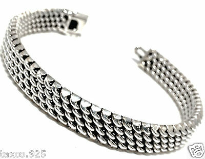 Taxco Mexican 925 Sterling Silver Classic Elegant Woven Chain Bracelet Mexico