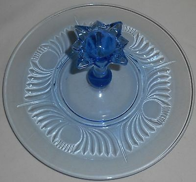 1930s Paden City Glass SPIRE -  DOT/WING DESIGN Maya Light ICE BLUE Tidbit Tray