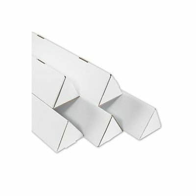 50 -  2 x 24 1/4 White Corrugated Cardboard Triangle Mailing Shipping Tubes