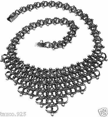 Taxco Mexican 925 Sterling Silver Oxidized Floral Flower Necklace Mexico