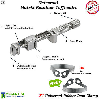 Tofflemire Type Universal Band Retainer Matrix Holder With Dental Dam Clamp #B4