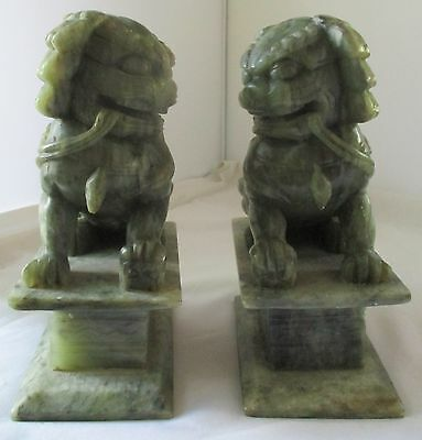 Vintage Pair Jade Green Carved Stone Foo Dog Bookends Statues