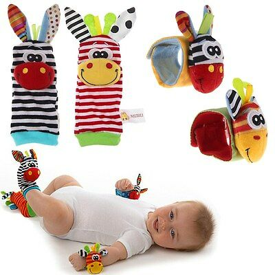 Cute Animal Infant Baby Kids Hand Wrist Bells Foot Sock Rattles Soft Toys