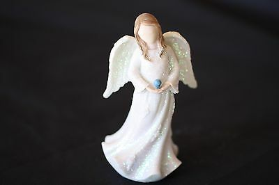 Birthstone Angel - December, Prosperity & Success, White with Blue stone (AG028)