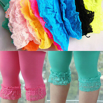 Baby Kids Girls Skinny Pants Lace Solid Warm Stretchy Leggings Trousers MAD