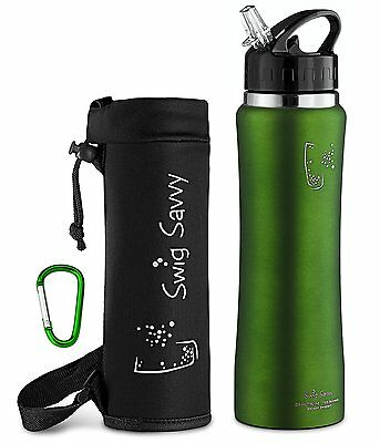 Swig Savvy's Stainless Steel Insulated Water Bottle with Straw Cap Green 24 Oz