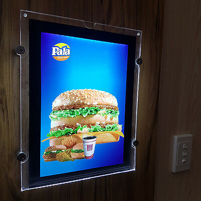 Wall Mount Slim Acrylic LED A4 Sign Poster Holder Menu Photo Display