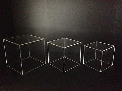 Perspex Cube Box Clear Acrylic Display Case Plastic, Set of 3, 200mm 175mm 150mm