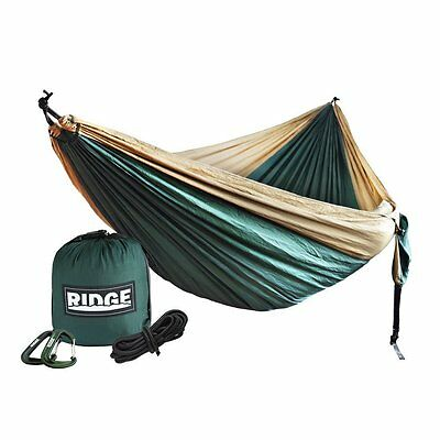 Double CampingHammock RipstopDeluxeXL*XXL*RidgeUnlimited Nylon,KhakiForest Green