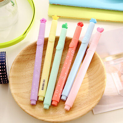6Pcs Cute Candy Colors Stationer Multi Shapes Highlighter Marker Pens Writing