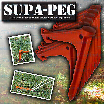 10x SUPA-PEG GROUND ANCHOR TENT ANNEX PEG PEGS HEAVY DUTY POLYPROPYLENE SUPAPEG