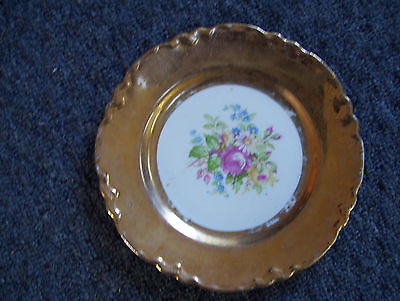 "WS George Radisson Bread & Butter 7"" Plate Floral Bouquet Center Wide Gold Trim"