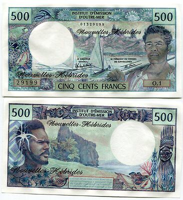 New Hebrides 500 Francs French Pacific P 19 Sign #3 Unc