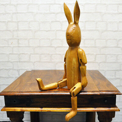 Reproduction Hare Large Rustic Vintage Style Wooden Jointed Hare Puppet
