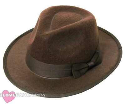 Brown Felt Fedora Hat Western Explorer Fancy Dress Film Character Temple Raider
