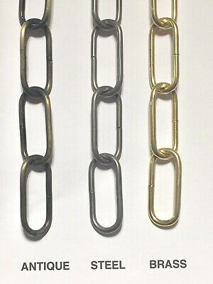 Heavy Duty Chandelier Hanging Link Chain, Antique, Steel or Brass Plated Finish
