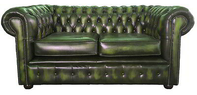 Chesterfield London 100% Genuine Leather Two Seater Sofa Antique Green UK Made