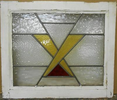 """OLD ENGLISH LEADED STAINED GLASS WINDOW Pretty Criss Cross Design 21"""" x 18"""""""