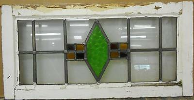 "MID SIZED OLD ENGLISH LEADED STAINED GLASS WINDOW Simple Diamond 26"" x 13"""